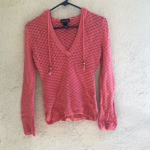 Athleta long sleeve pink knit hoodie